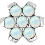 Steel Disc 1.2 Flower, Prong Setting, Synthetic Opal (for...